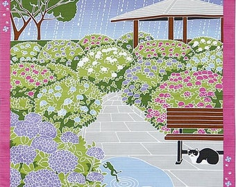 Cat and Hydrangea Japanese Furoshiki Wrapping Cloth  Small Price depends on order volume.