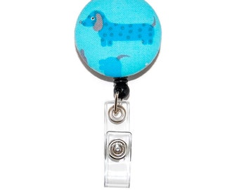 Wiener Dog Badge Reel  -  Dachshund Retractable ID Name Tag Holder  -  Choice of Alligator or Swivel Clip