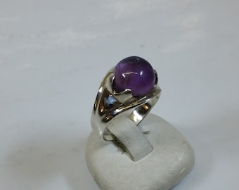 925 Silver ring with Amethyst shabby vintage SR693
