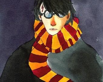 Harry Potter illustrated postcard