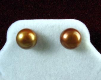 Genuine Brown Freshwater Pearl Earring Studs 8-8.5mm