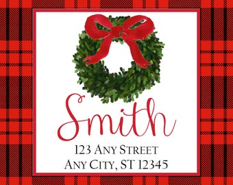 Christmas Address Labels, Red Black Plaid Boxwood Wreath Square Stickers for Gift Tags, Address Labels, Preppy Labels, Bookplate
