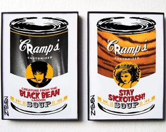 """The Cramps Lux and Ivy Pop Art Soup """"leather tiger version"""" framed set of 2 by Zteven"""