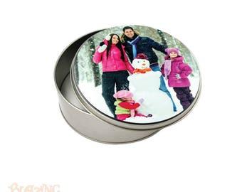 Round Metal Storage Tin Personalized with Custom Photo