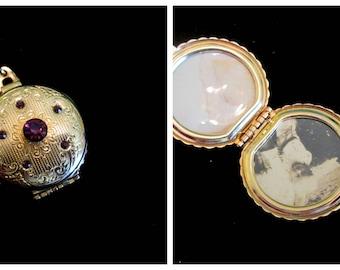 Royal Locket - Vintage Purple Amethyst Coro Necklace