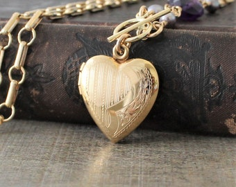 Gold Heart Locket Necklace, Amethyst Locket, June February Birthstone Locket, Push Present, Gold Locket, Gold Photo Locket Chunky Chain
