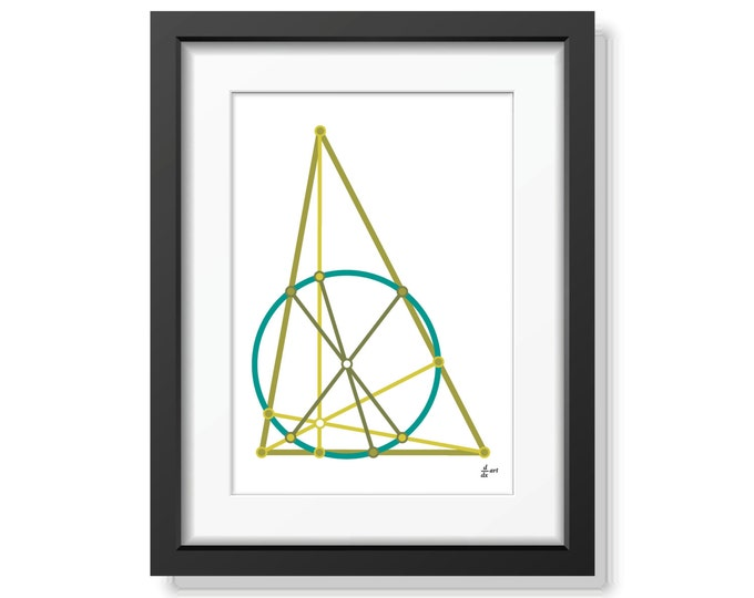 Nine point circle 02 [mathematical abstract art print, unframed] A4/A3 sizes