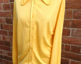 Bright and bold canary yellow vintage blouse, 60's St Michael, oversized collar, Crimplene