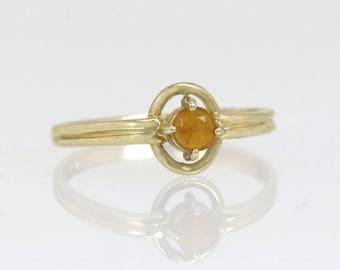 Vintage Estate 14k Yellow Gold .20ct Orange Topaz Gemstone Ring