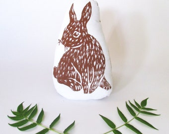 Bunny Shaped Animal Pillow. Woodblock Printed. Choose Any Color. Made to order.