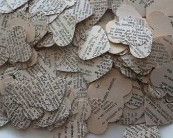 500 Paper hearts - Vintage dictionary hearts - Ready to Ship