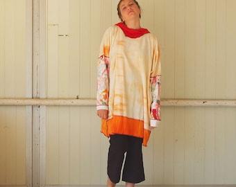Fantastic Orange  - XXL -kkneidl couture oversized tunic - Tie Dye