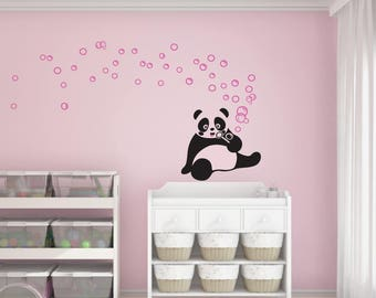 Vinyl wall sticker. decal. adhesive • Panda. customizable colors