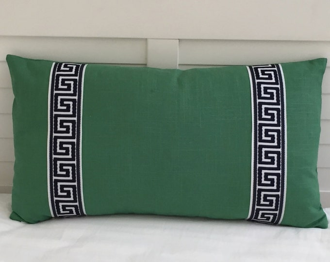 Kelly Green Linen with Greek Key Trim Tape Designer Lumbar Pillow Cover - Trim Color Options Available