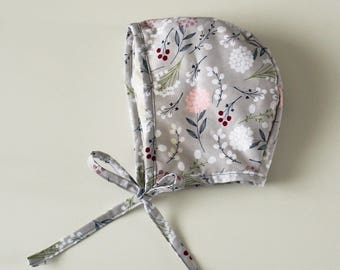 Grey Floral Newborn Baby and Toddler Bonnet, Baby Bonnets, Modern vintage style baby hat, Toddler bonnet