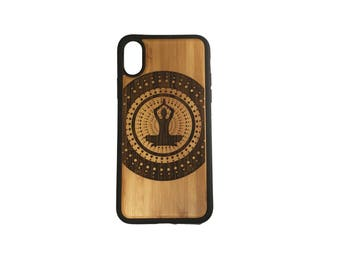 Yoga Mountain Pose iPhone Case Cover for iPhone X by iMakeTheCase Bamboo + TPU Wrapped Edges Spirituality Meditation Healing Hindu Buddhist