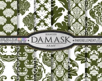 Army Green Damask Digital Paper - Dark Green Digital Paper in Military Colors - Printable Scrapbooking Backdrops