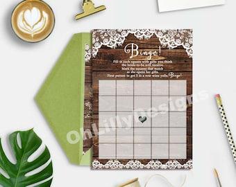 Rustic Bingo Game Printable, Bridal Shower Bingo Game, Bridal Shower Games, Instant Download Bingo Game, Bingo Game, Shower Games Printable