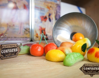 Handcrafted marzipan in the shape of fruits and vegetables
