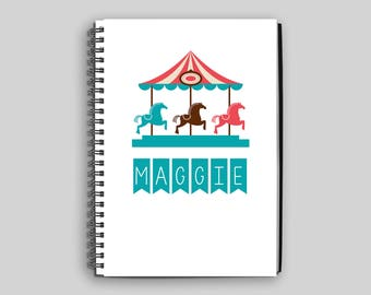 Carousel Notebook ~ Personalized Carousel Journal ~ Custom Carousel Diary ~ Carousel Child's Notebook ~ Personalized Gift ~ Diary