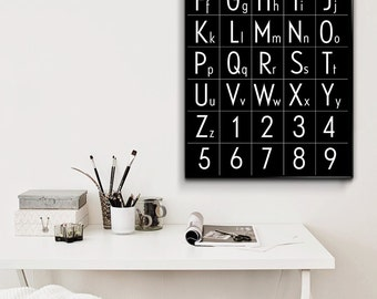 Alphabet Chart Childrens Room Nursery Wall Art Printable Alphabet Black and White Print Affiche Scandinave Scandinavian Alphabet Large Print