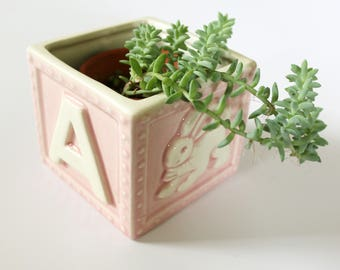 Vintage Pink ABC Building Block Planter - Bunny and Bird
