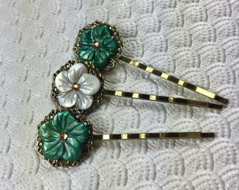 Green Gold and Ivory Cherry Blossom Mother of Pearl and Swarovski Crystal Hair Pins -- Set of 3