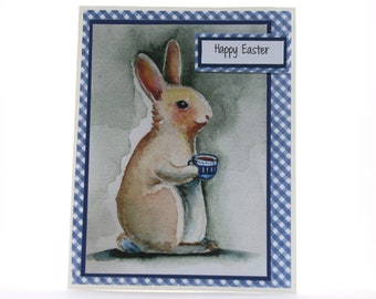 Easter Bunny Card - Easter Card - Happy Easter Card - Blue Easter Bunny Card