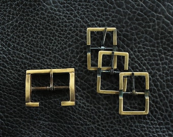 Square Strap Buckles in Antiqued Gold Metal
