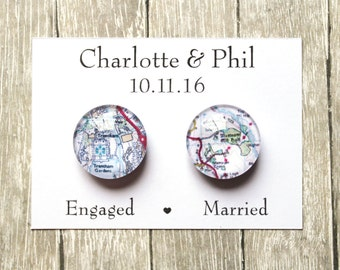 Wedding Favour Glass Magnets ~ Fridge Magnets ~ Refridgerator Magnets ~ Wedding Gift ~ Personalised Map Wedding Favours ~ Engaged ~