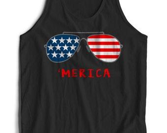 4TH of July Merica Independence Day Glasses American Flag Clothing Merica Tank For Men Women Teen Unisex Tank Top Summer Clothing Tanks IjoFdkTZG