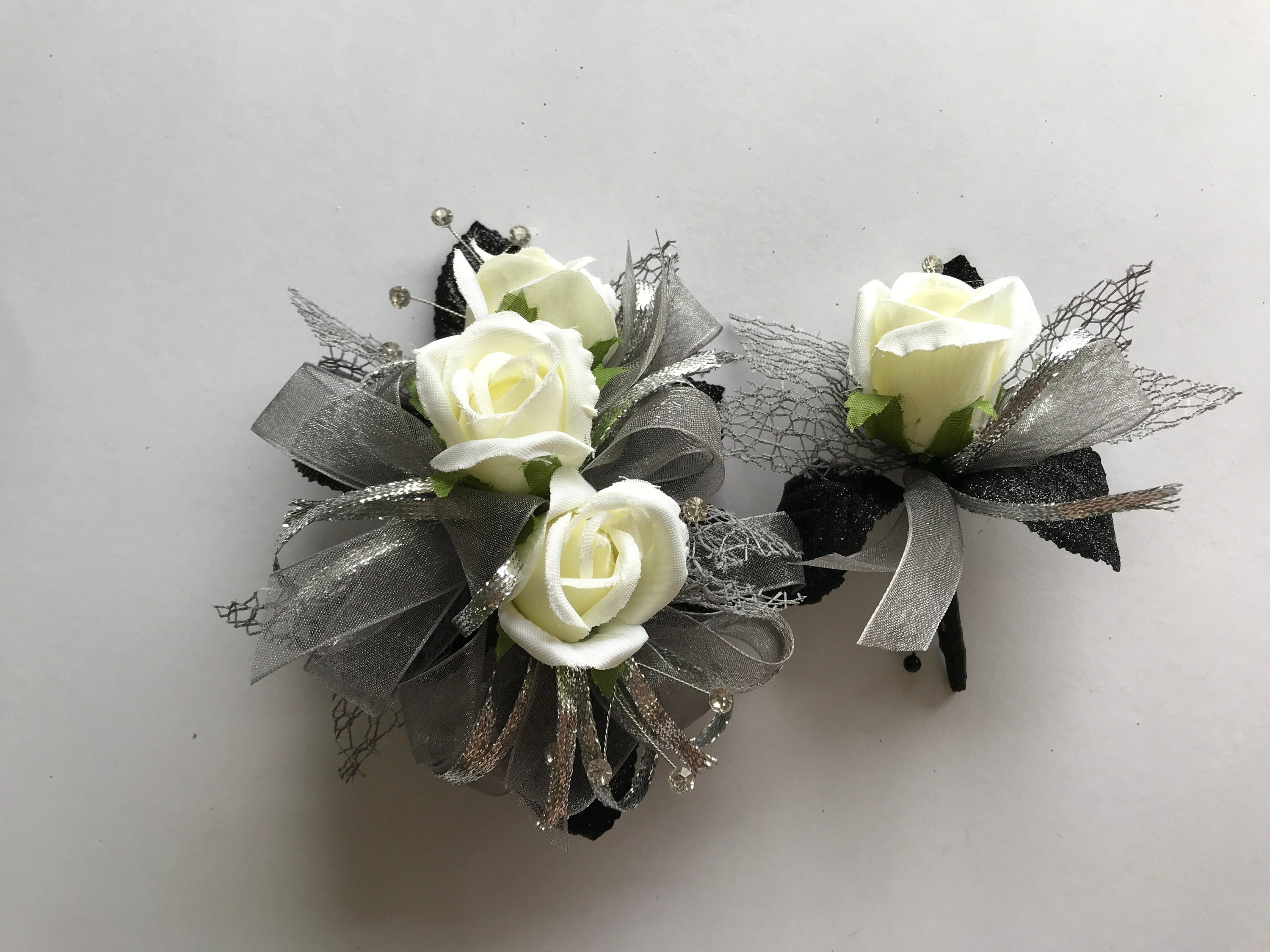 Black Silver And White Rose Corsage And Boutonniere Set
