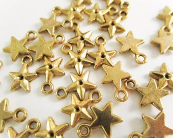 Charm, Antiqued Gold Finished Pewter Star Charm, Gold Charm, 7x7mm,  Gold Star Charm, Minimal Charm, Jewelry Making, Craft Supply, Bracelet