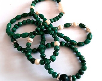 Bracelets, stack, genuine gemstones, turquouse, howlite, malachite, green and white,pretty and dainty, customized fit