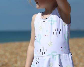 Girls /baby Cactus print skirted peplum swimsuit
