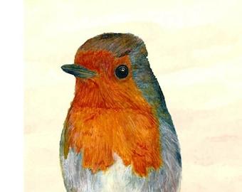 Robin Red Breast. A Robin Watercolor. Sized 8 x 10. Garden Bird Art. Winter Robin Print. A Wild Bird Illustration. For - Bird Wall Art.