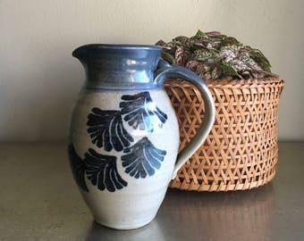 vintage studio pottery pitcher vase vessel blue and gray