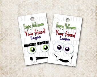 Personalized Halloween Tags Monster Faces Party Favor Treat Bag Tags T038