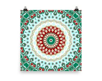 Festive Home Decor, Christmas Decor, Holiday Wall Art, Red and Green Mandala Art