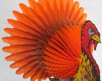 Vintage Turkey Thanksgiving Honeycomb Standing Decoration Large Madras Art Tissue Centerpiece by Beistle