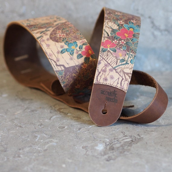 Asian Floral Print on Honey over Nut Brown Leather Guitar Strap