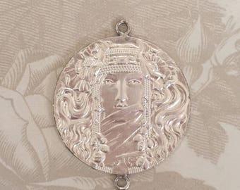 Beautiful French 2-Ring Sterling Plate Mystic Egyptian Pendant(1 pc)French Silver Pendant Art Nouveau Woman/French Goddess Pendant[L5-2]