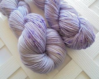 LILAC Hand-Dyed Yarn, Speckled Yarn, Indie-Dyed Yarn, Fingering-Weight Yarn, Sock-Weight Yarn, Superwash Merino Yarn, Silk Yarn, Weave Knit