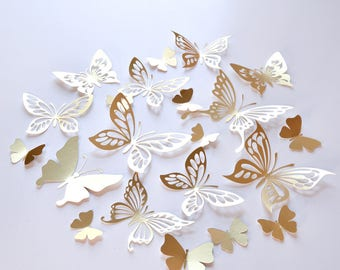 Awesome 20 Gold Butterfly Wall Decor, Gold Butterfly Decoration, Gold Paper  Butterflies, Gold Butterfly Wedding Wall Decal