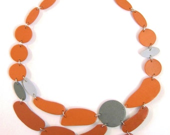 Modern geometric wood necklace - necklace in orange and gray - modern, contemporary, minimalist handmade jewelry- eco friendly