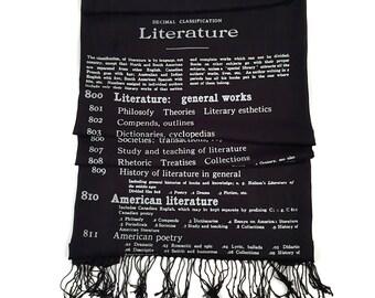 Printed Book Scarf. Literary print scarf. Dewey Decimal Library. Silkscreened linen weave literature pashmina. Black, silver & more.