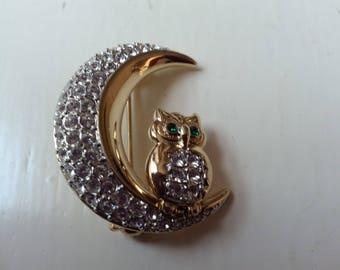 BJ Owl & moon brooch