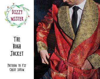 Smoking jacket sewing pattern, mens jacket PDF pattern, mens sewing digital download, menswear sewing pattern, mens coat pattern