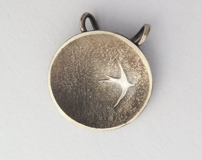 Swallow Eclipse Pendant, Silver Jewelry, Silver Pendant, Bird Pendant, Silver Jewellery