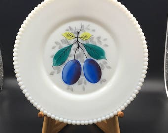 Westmoreland Purple Plums, Beaded Edge Milk Glass Plate, Vintage Milk Glass, Vintage Westmoreland, Milk Glass Plate